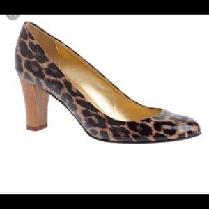 J crew leopard print heels sz 6.5 leather fall !